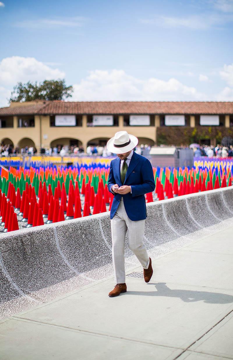 Ivory Panama Hat & Blue Suit Jacket