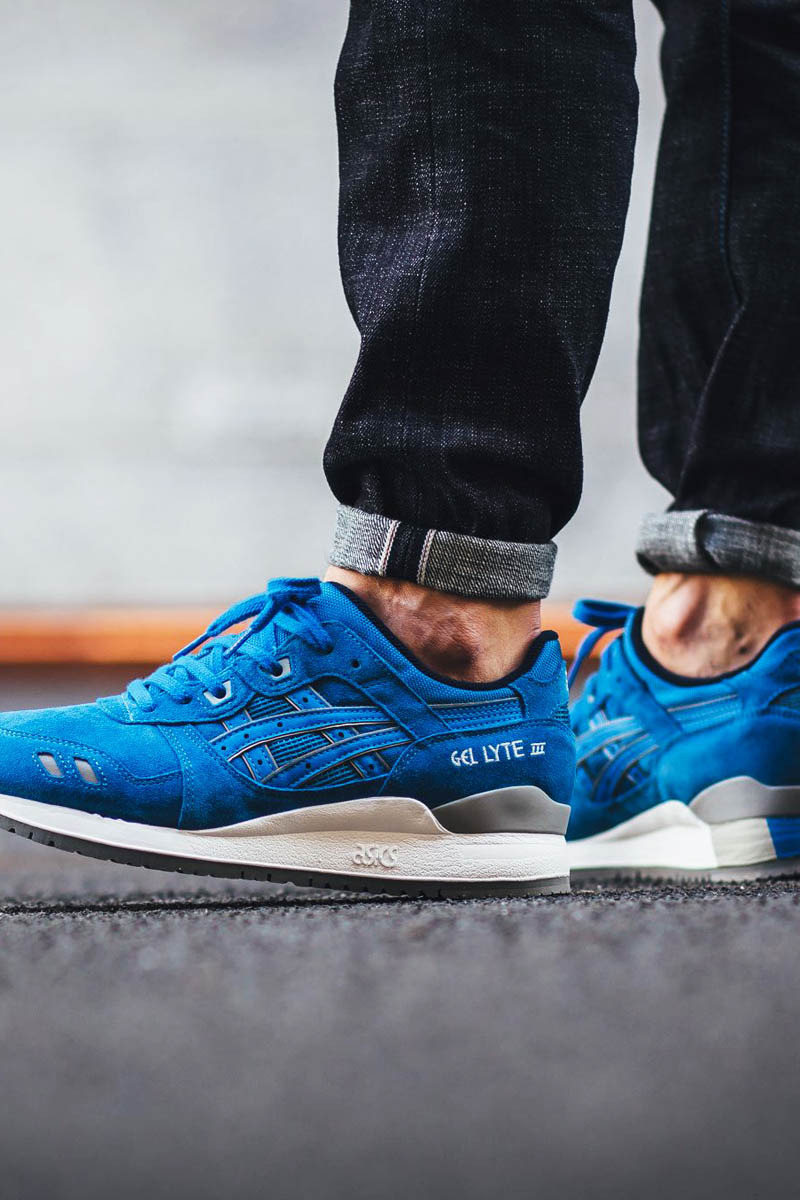 "This one is known simply as ""Puddle"". Blue suede uppers on the classic Gel Lyte III silhouette."