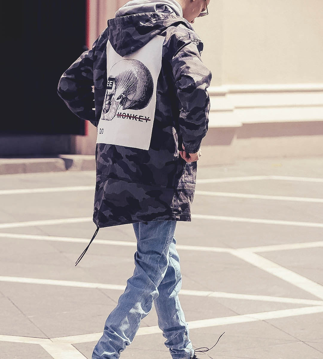 I Love Ugly's military camo parka with a 'Monkey See, Monkey Do' patch on the back. #menswear #parka #military