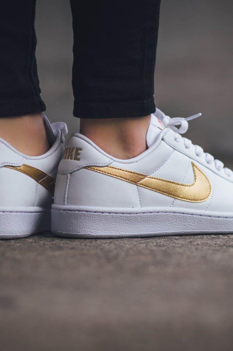 white nike shoes with gold swoosh style guru fashion