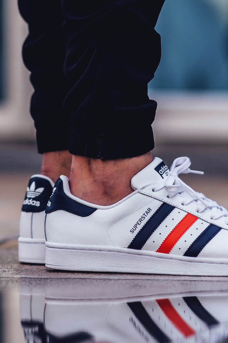 adidas superstar shoes with red stripes