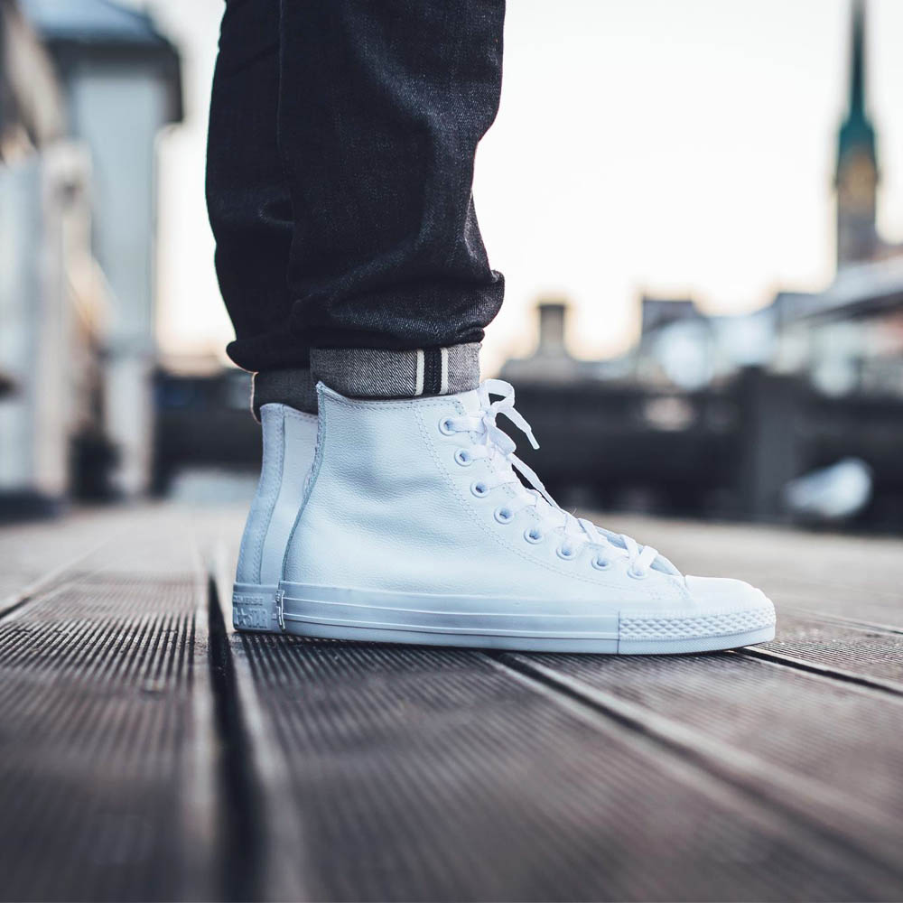 CONVERSE Leather White Chucks Are the Cleanest Looking Hi-Tops on ... 991ca76673bd