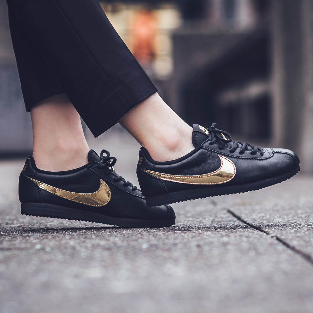 NIKE Cortez QS Metallic Gold Swoosh on Black