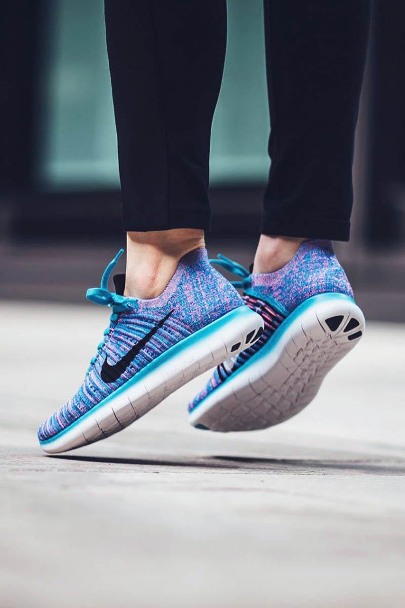 Nike free run womens blue and green