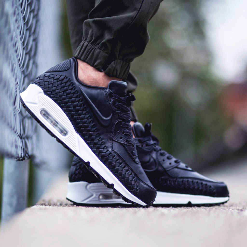 watch ab6bf 754be Black Air Max 90 Woven