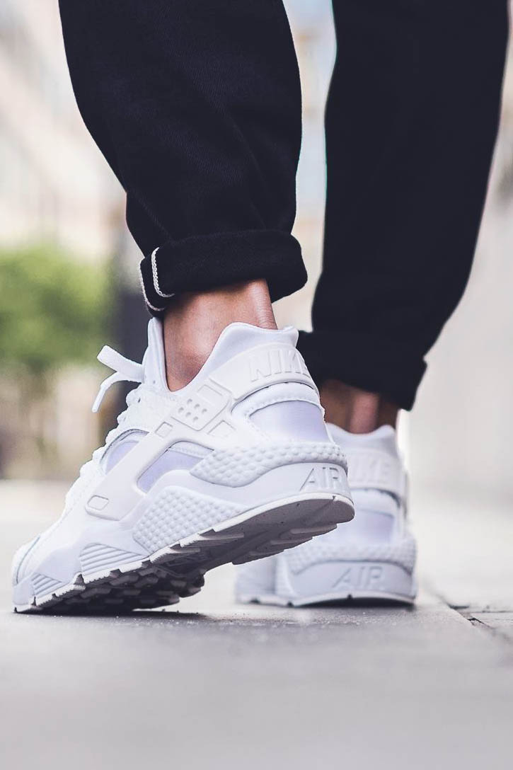 Premium Huarache in a 'White on White with a touch of black' colorway