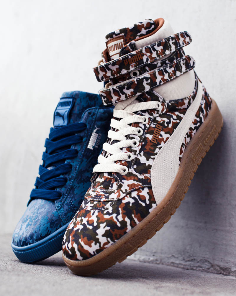PUMA Camo Pack featuring the Sky II High & Suede in military inspired camo uppers.