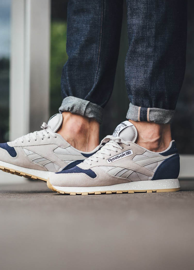 Reebok Classic Leather SM in  Sand   Blue Ink   1107860c6