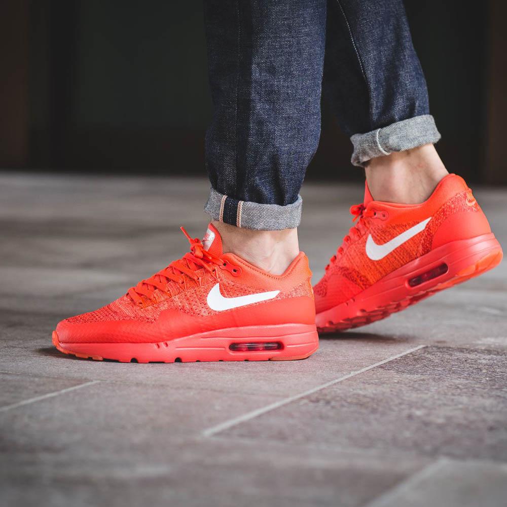 nike air max 1 ultra flyknit womens shoe red wearing